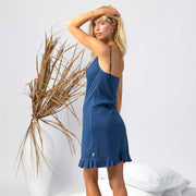 model wearing organic cotton slip dress in blue, cotton clothing, organic cotton sleepwear,