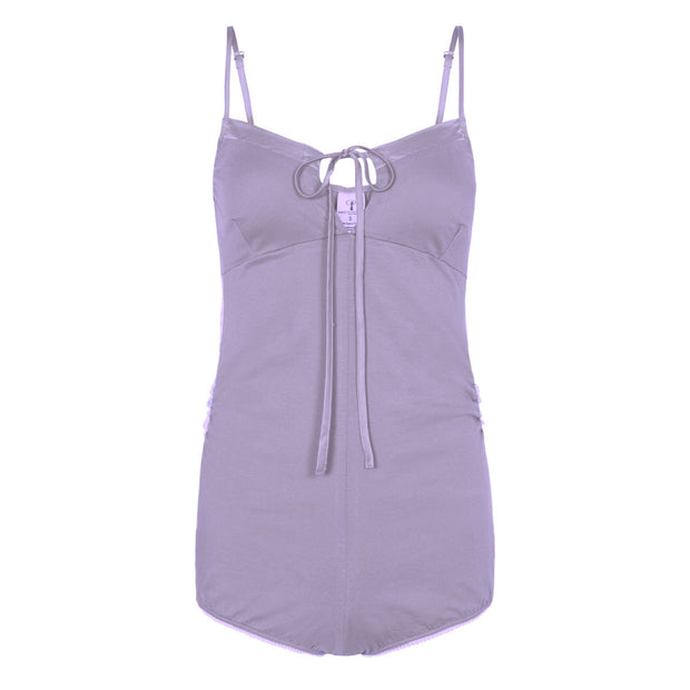 Love romper - organic cotton with silk trim in lavender