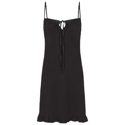 organic cotton slip with silk trim in black