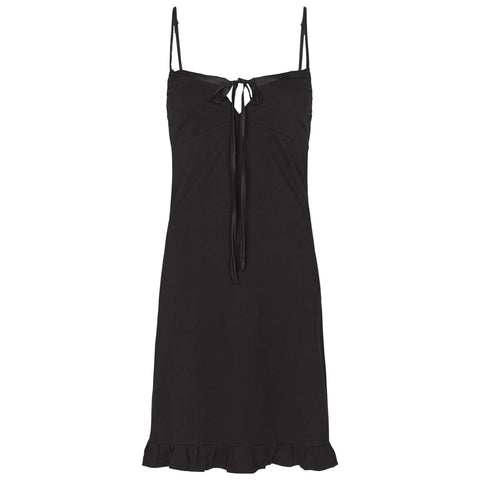 organic cotton slip dress in black, cotton clothing, organic cotton sleepwear,