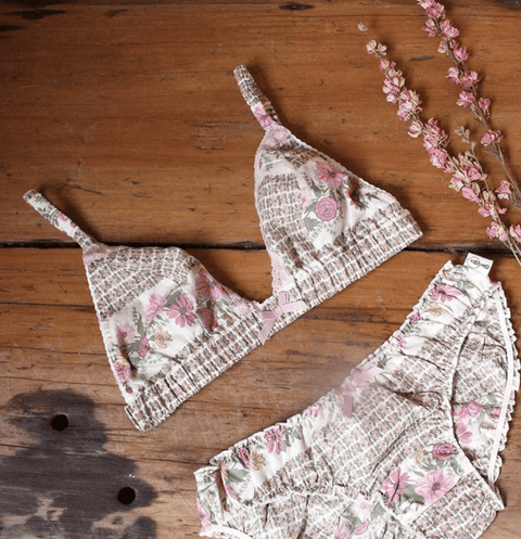 Bella bralette cotton in folklore - Bralette- Eco Intimates