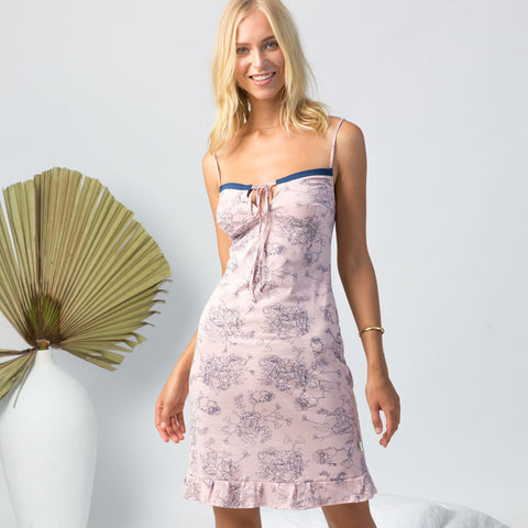 model wearing organic cotton slip dress in peony print, cotton clothing, organic cotton sleepwear,