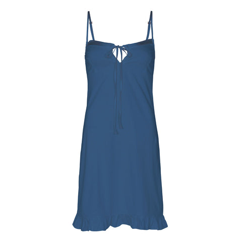 organic cotton slip dress in blue, cotton clothing, organic cotton sleepwear,
