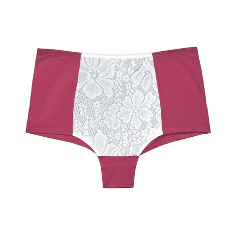 high waisted knickers with lace in organic cotton