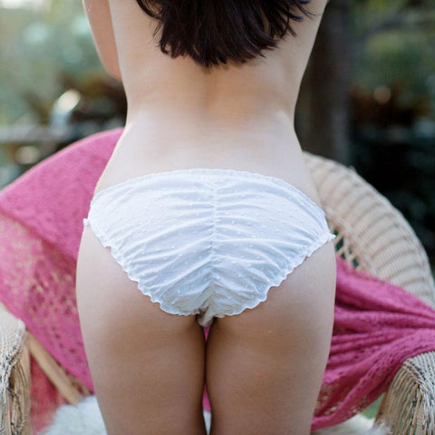 model wearing swiss dot knickers in white, white underwear, cotton underwear
