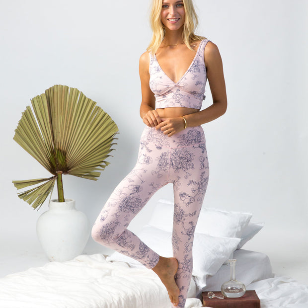 Yoga pants - organic cotton in blush