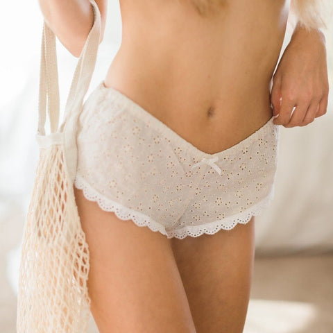 cotton french knickers in ecru