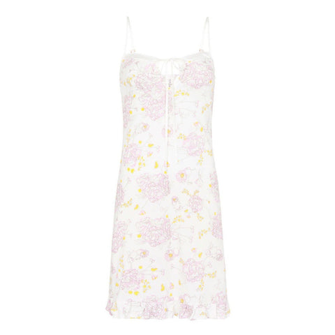 Organic cotton slip dress in peony print, cotton clothing, organic cotton sleepwear,