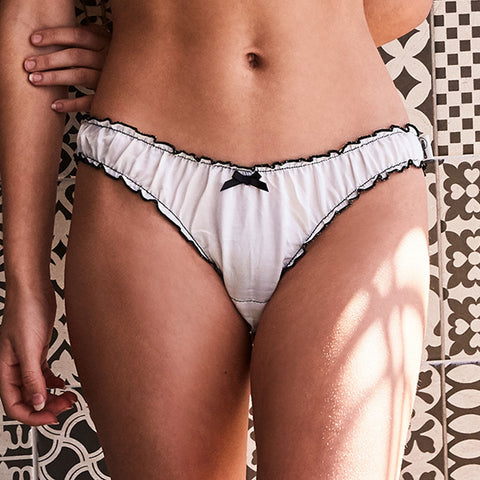 Ruffle knickers - silk cotton with black trims