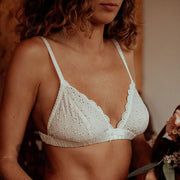 cotton lace soft cup bra in ivory
