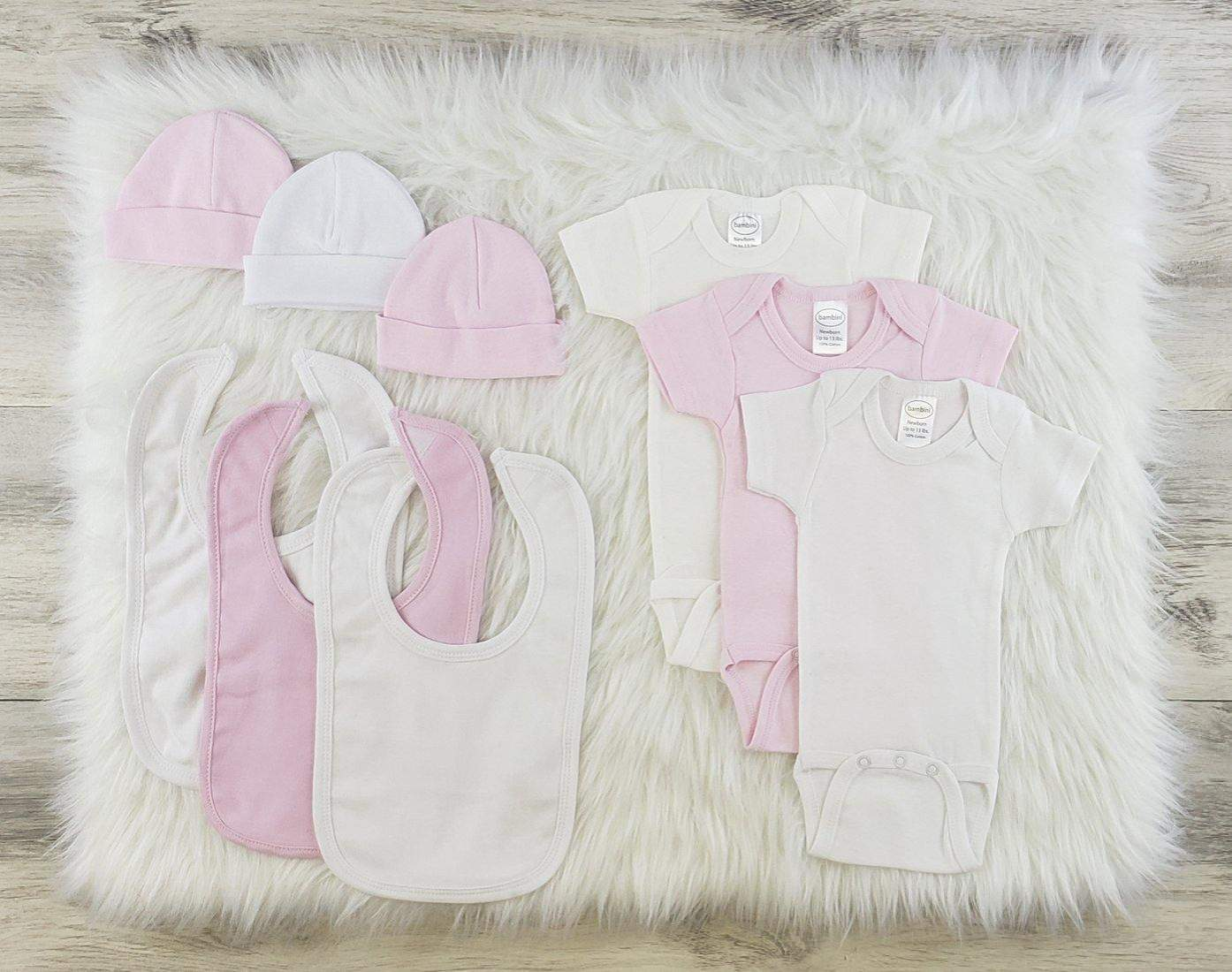 Bambini 9 Pc Girl Layette Bibs, Beanies, Onesies Baby Clothes Set (NB,S,M,L)