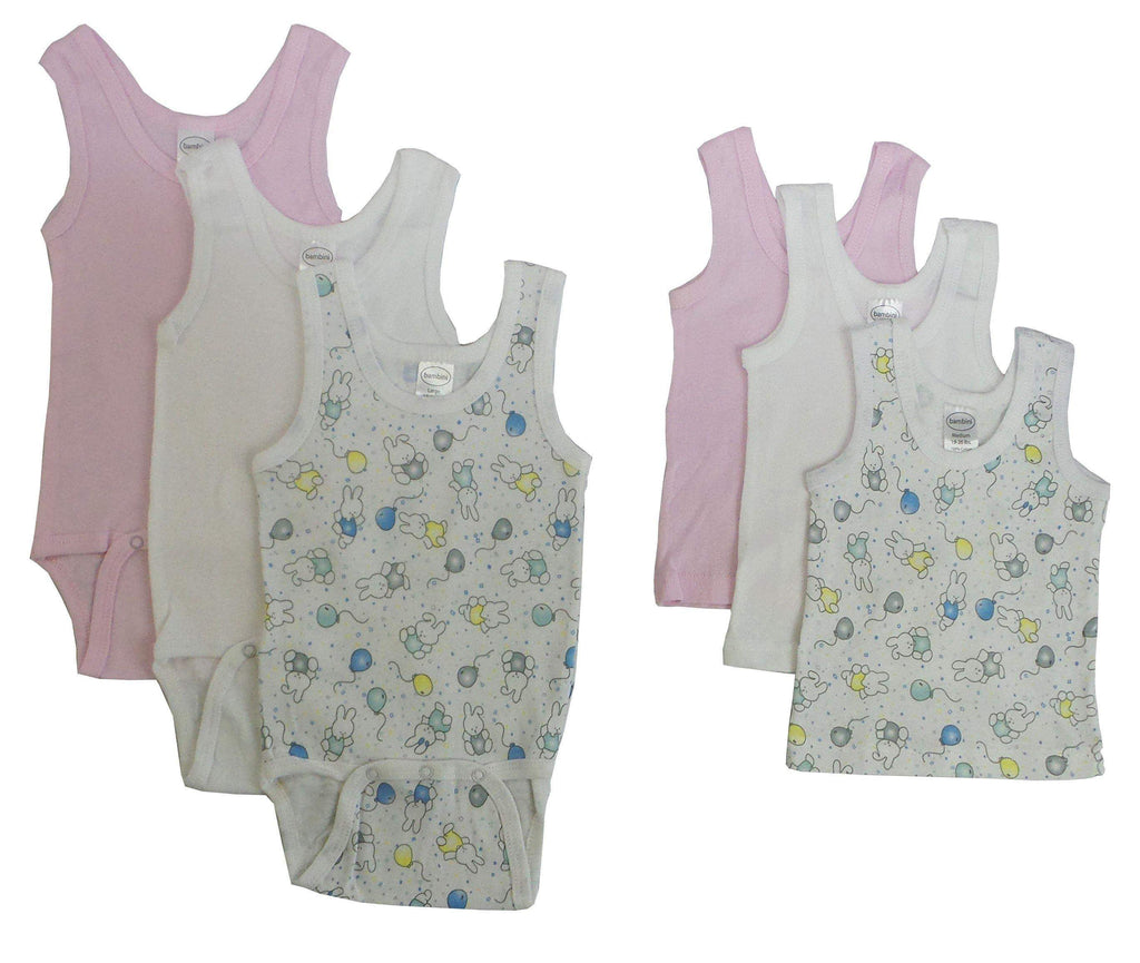 Bambini Girls Printed Tank and Onesies 6 Pack