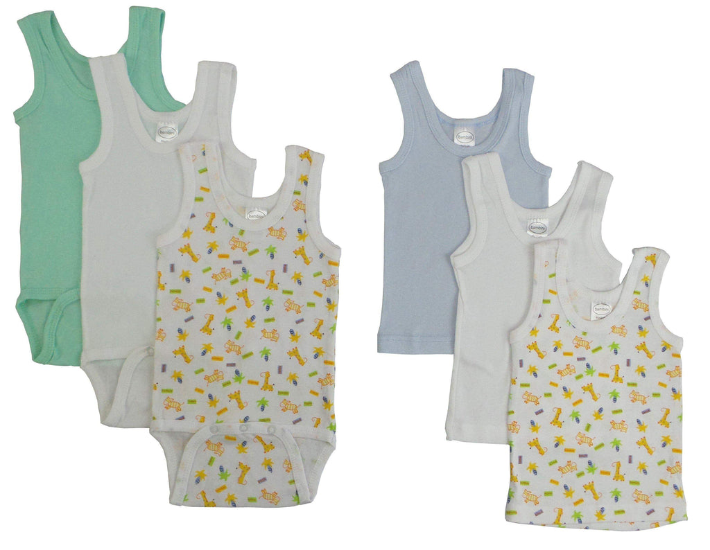 Bambini Boys Printed Tank and Onesies 6 Pack