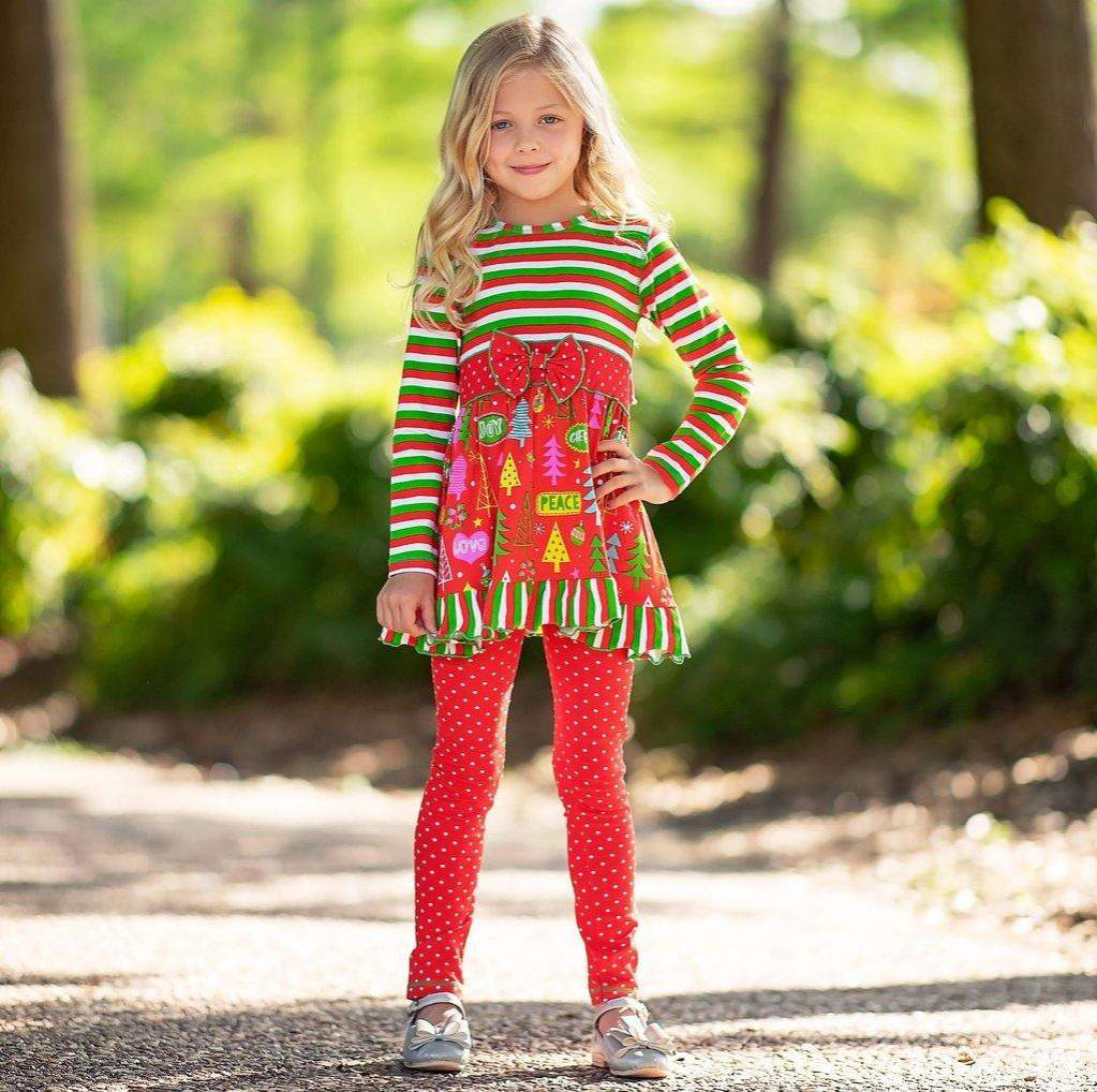 Stripes Christmas Outfit Set 2T-12Y