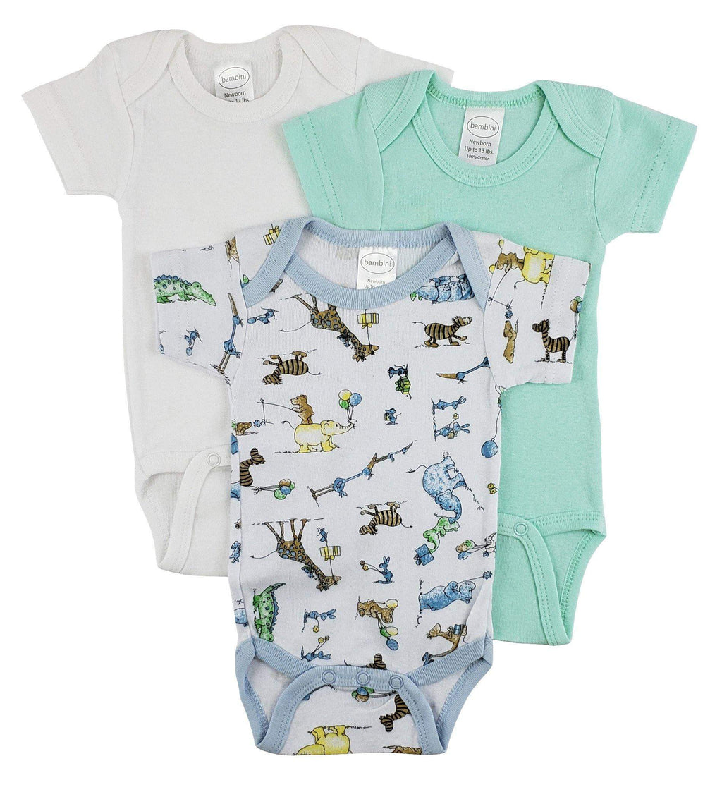 3 Pack Boy's Rib Knit Short Sleeve Onesie(NB,S,M,L)
