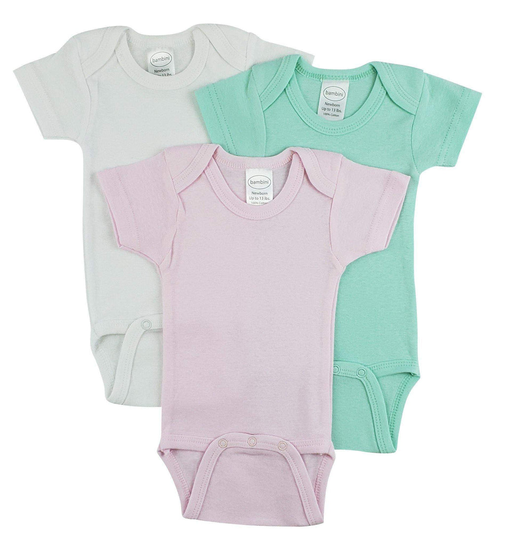 3 Pack Girl's Rib Knit Short Sleeve Onesie(NB,S,M,L)