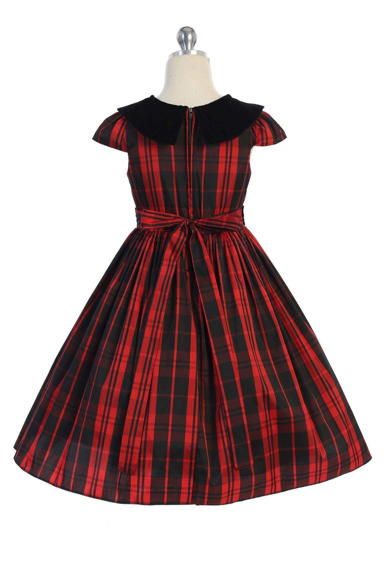 Classic Plaid with Velvet Collar Dress