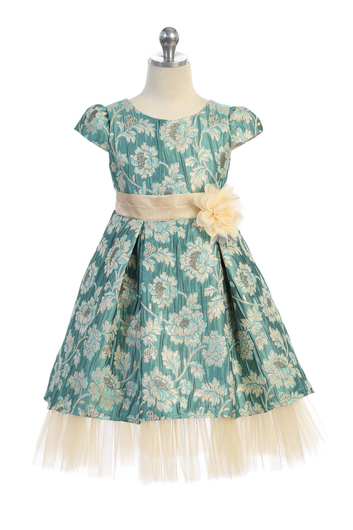 Brocade Peaking Tulle Dress