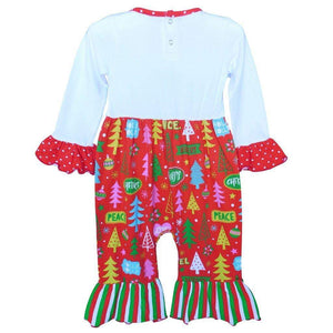 Cute Red Christmas Tree Holiday Romper 6-24M