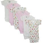 6 Pack Girl's Rib Knit Short Sleeve Onesie (Prem)