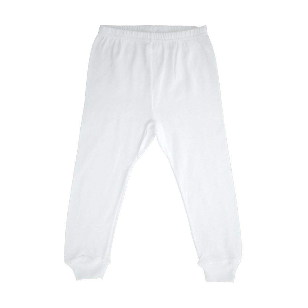 Rib Knit White Long Pants (NB,S,M,L)