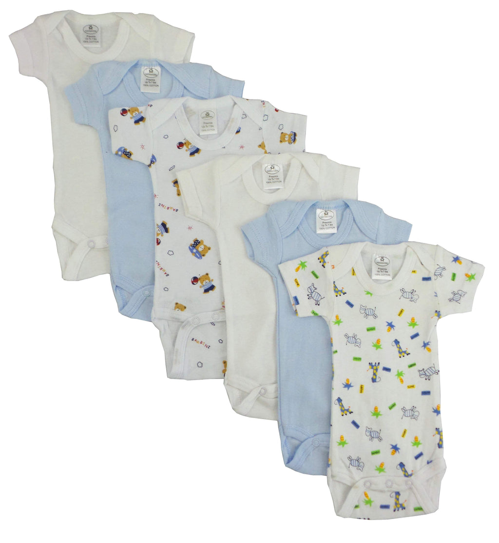 6 Pack Boy's Rib Knit Short Sleeve Onesie (Premature)