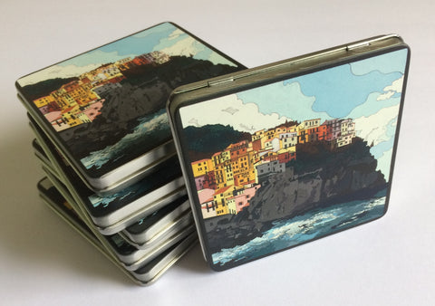 "Tin with ""Manarola"" painting"
