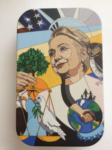 "Tin with ""In Honor of Hillary Clinton"" Painting"
