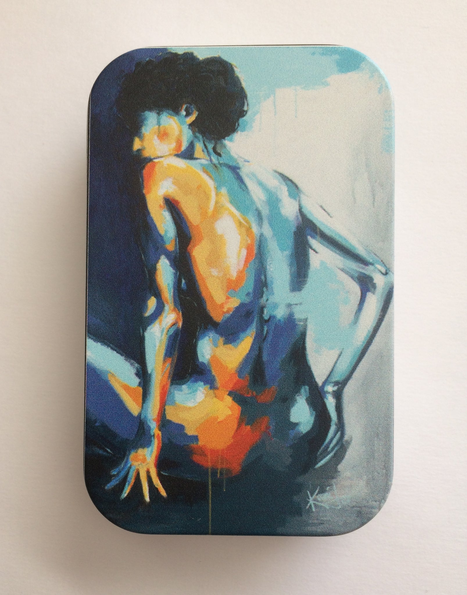 "Tin with ""Blue Grace"" Painting"