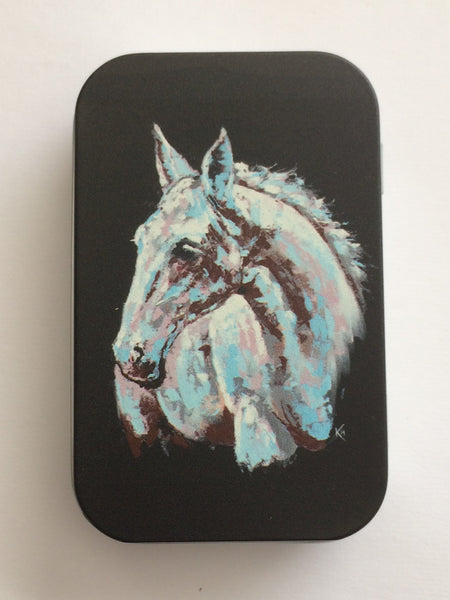 "Tin with ""White Horse"" Painting"