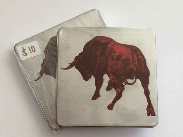 "Tin with ""Toro"" Painting"