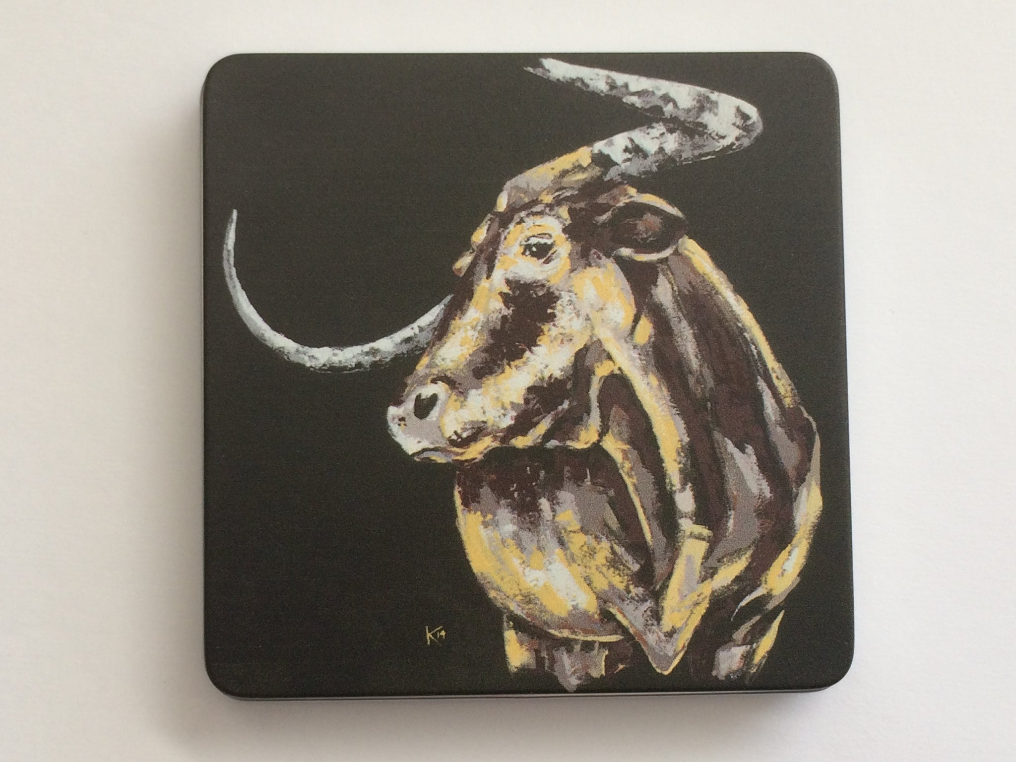 "Tin with ""Texas Longhorn"" Bull Painting"