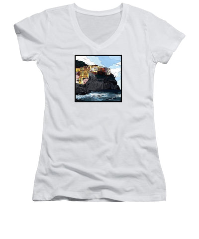 Manarola W/hidden Pictures - Women's V-Neck (Athletic Fit)