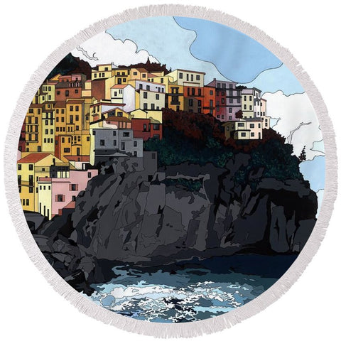 Manarola W/hidden Pictures - Round Beach Towel