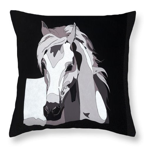 Arabian Horse With Hidden Picture - Throw Pillow