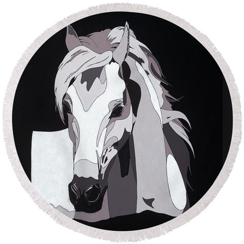 Arabian Horse With Hidden Picture - Round Beach Towel