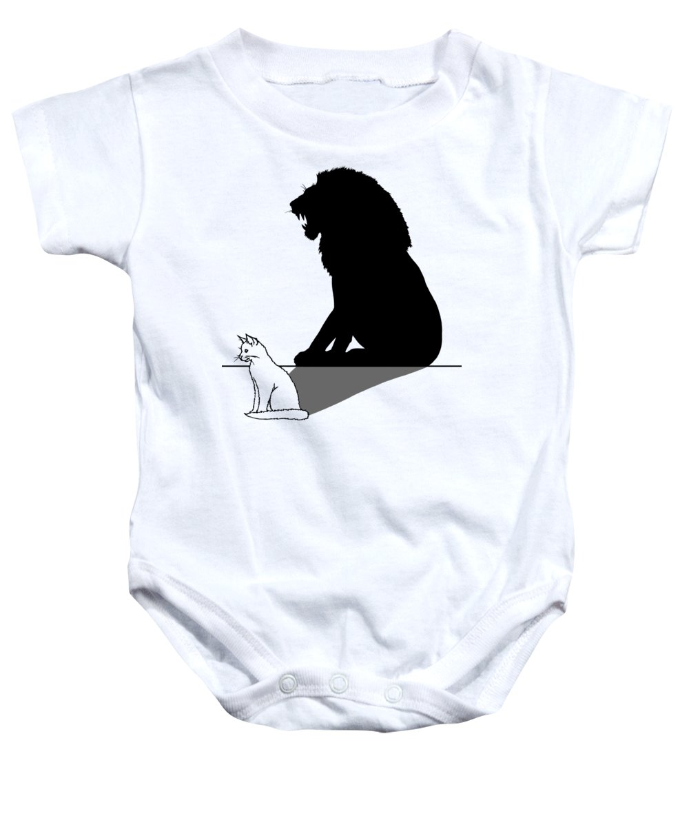 Cat With Lion Shadow - Baby Onesie