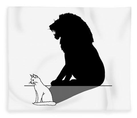 Cat With Lion Shadow - Blanket