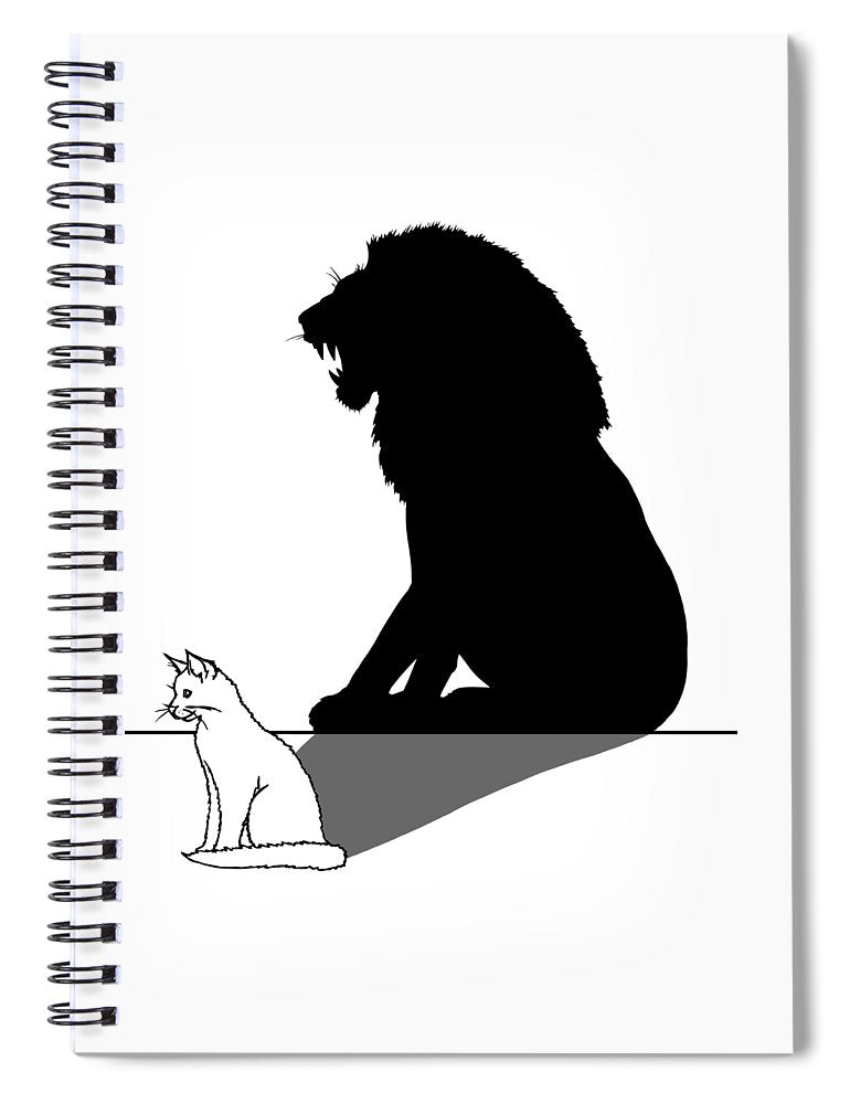 Cat With Lion Shadow - Spiral Notebook
