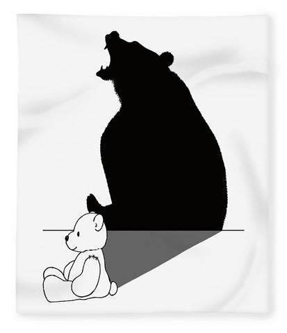 Teddybear With Roaring Bear Shadow - Blanket