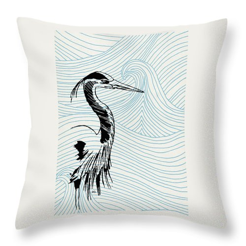 Blue Heron On Waves - Throw Pillow