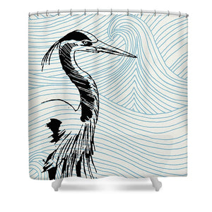 Blue Heron On Waves - Shower Curtain