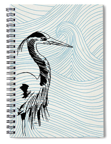 Blue Heron On Waves - Spiral Notebook