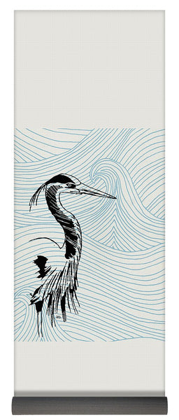 Blue Heron On Waves - Yoga Mat