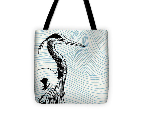 Blue Heron On Waves - Tote Bag