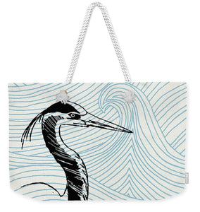Blue Heron On Waves - Weekender Tote Bag