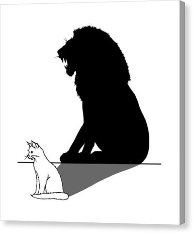 Cat With Lion Shadow - Canvas Print