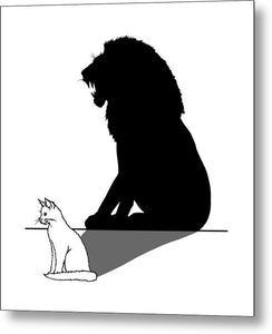 Cat With Lion Shadow - Metal Print