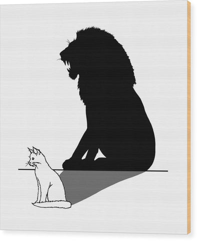 Cat With Lion Shadow - Wood Print