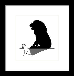 Cat With Lion Shadow - Framed Print